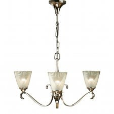 Interiors 1900 Columbia Nickel 3 Light Pendant & Deco Glass 40W 63440