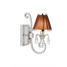 Interiors 1900 Oksana Nickel Single Wall Light & Chocolate Shade 40W 63534