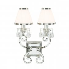 Interiors 1900 Oksana Nickel Twin Wall Light & White Shades 40W 63536