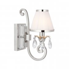 Interiors 1900 Oksana Nickel Single Wall Light & White Shade 40W 63537
