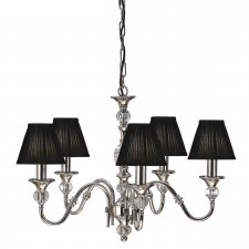 Interiors 1900 Polina Nickel 5 Light Pendant & Black Shades 40W 63582