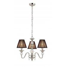 Interiors 1900 Polina Nickel 3 Light Pendant & Black Shades 40W 63583
