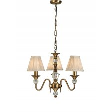Interiors 1900 Polina Antique Brass 3 Light Pendant & Beige Shades 40W 63586