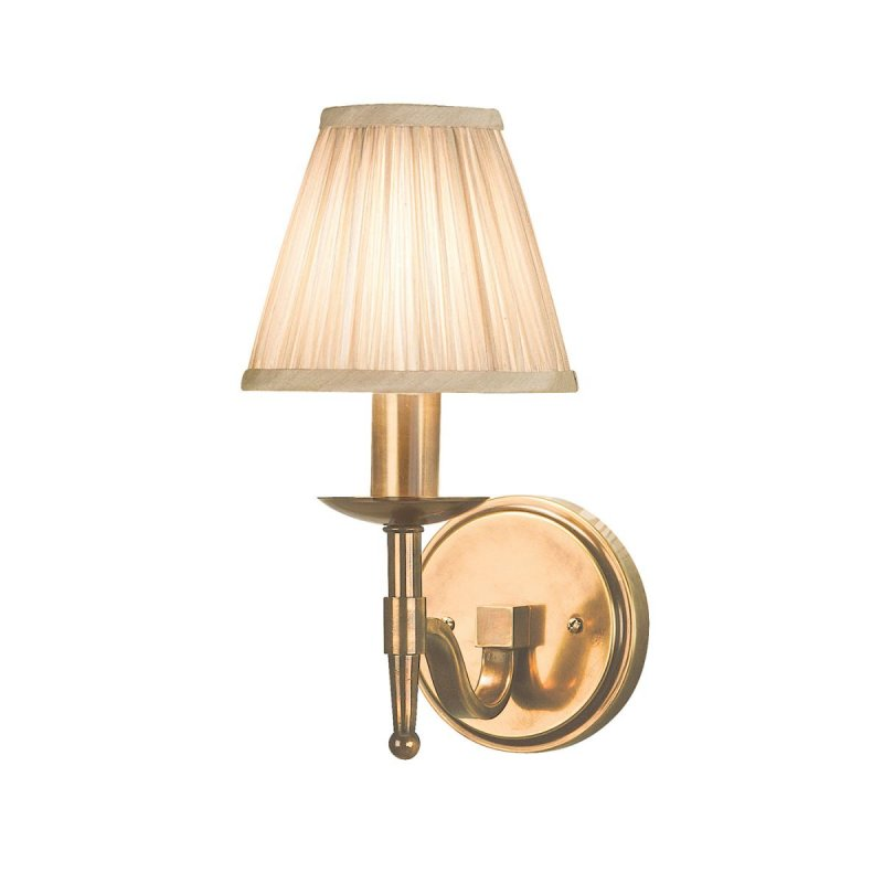 Interiors 1900 Stanford Antique Brass Single Wall Light & Beige Shade 40W  63653