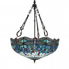 Interiors 1900 Tiffany Dragonfly Blue Large Inverted 3 Light Pendant 60W 64074