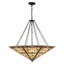 Interiors 1900 Tiffany Dragonfly Beige Mega Panel Inverted 8 Light Pendant 60W 64077