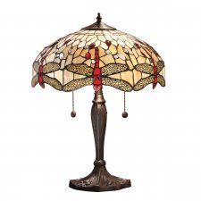 Interiors 1900 Tiffany Dragonfly Beige Medium Table Lamp 60W 64085