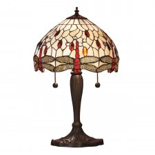 Interiors 1900 Tiffany Dragonfly Beige Small Table Lamp 60W 64086