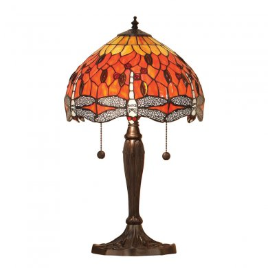 Interiors 1900 Tiffany Dragonfly Flame Small Table Lamp 60W 64092