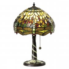 Interiors 1900 Tiffany Dragonfly Green Small Table Lamp 60W 64094
