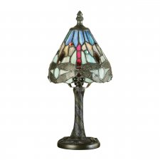 Interiors 1900 Tiffany Dragonfly Blue Mini Table Lamp 40W 64098