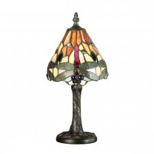 Interiors 1900 Tiffany Dragonfly Flame Mini Table Lamp 40W 64100