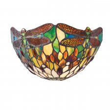 Interiors 1900 Tiffany Dragonfly Green Wall Light 40W 64104