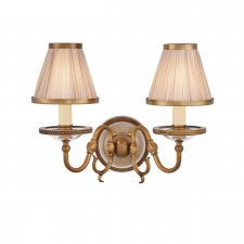 Interiors 1900 Tilburg Antique Brass Twin Wall Light & Beige Shades 40W 70821