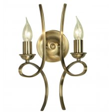 Interiors 1900 Penn Brushed Brass Twin Wall Light 40W CA7W2BB